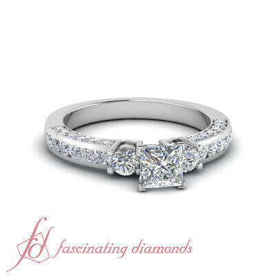 Engagement Ring Channel Set 1.40 Ct Princess Cut Untreated Diamond GIA Certified