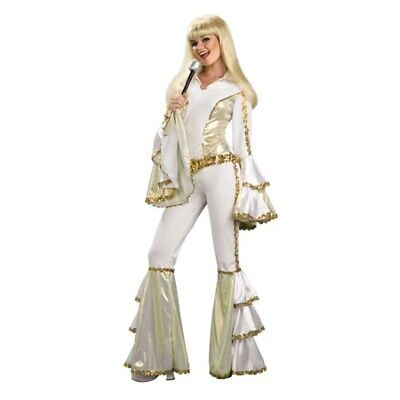 Disco Queen Women's Costume Dancing ABBA 70's Pop Music Fancy Dress Mamma Mia