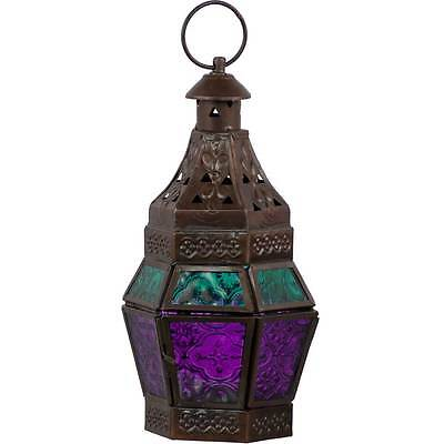Turquoise   Purple Glass Moroccan Lantern Candle Holder Metal Hanging Decor
