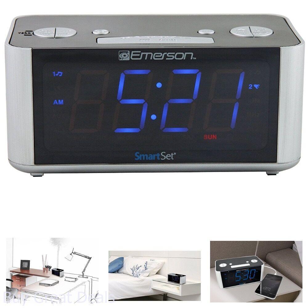 Emerson CKS1708 Smart Set Radio Alarm Clock AM/FM Digital LED Display Tuning