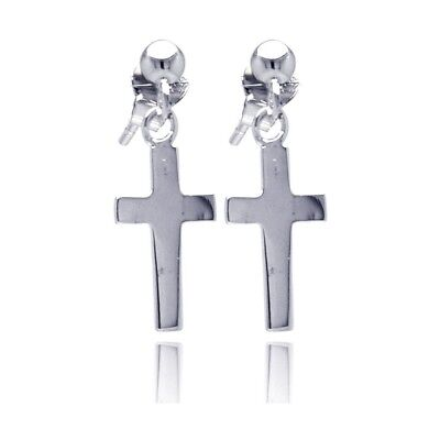 Sterling Silver Dangle Cross Post Stud Earrings