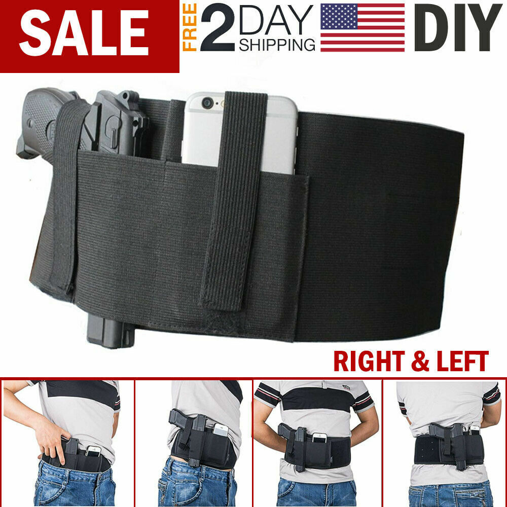 Tactical LONG Belly Band Gun Holster Pistol Waist Concealed