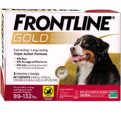 Frontline Gold  Dogs 89 132 Lbs 3 Pack Epa Approved Sealed Box Usa Free Shipping