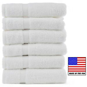 6 new white made in the USA bath towels 24x50 10# 1888 MILLS hotel spa resort