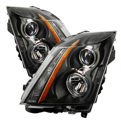 "2008-2014 Cadillac CTS ""V-STYLE"" Black Front LEFT RIGHT Headlights Headlamp PAIR"