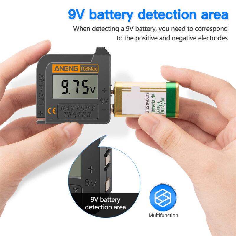 Universal Digital LCD Battery Checker Volt Tester For AA AAA C D 9V Button Cell