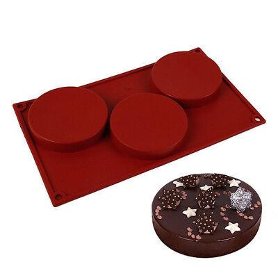 Kitchen 3-Cavity Silicone Cake Pie Custard Tart Resin Mold Bakeware Coaster Tray