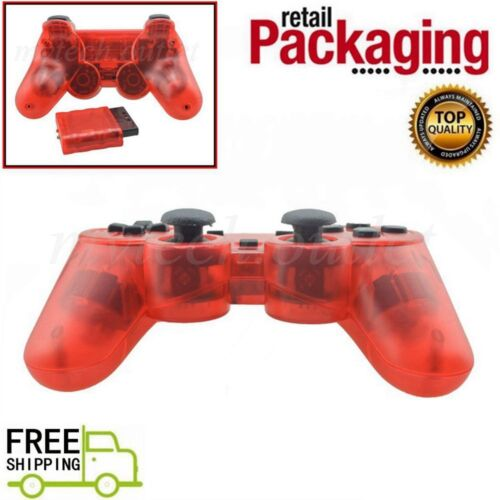 New Clear Red Wireless 2.4G Twin Shock Game Controller For PS2 Joystick Joypad
