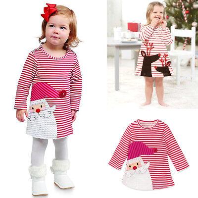 Toddler Baby Girls Santa Striped Princess Dress Christmas Ball Gown Kids Clothes - Baby Santa Dress