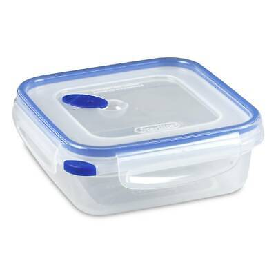 Sterilite Plastic Food Storage Container 0331 Square 4 Cup Ultra Seal Clear Blue Blue Food Storage