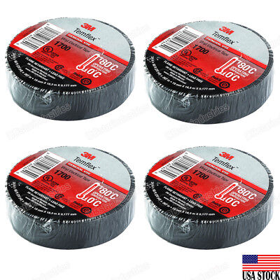 3m Temflex Electrical Vinyl Tape 1700 Black 34 X 60 Ft Insulated 4 Rolls