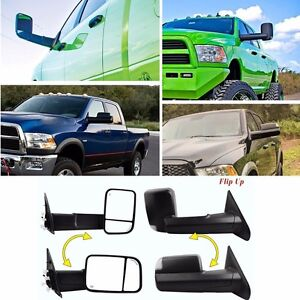 Set Tow Mirrors Power Heated Led Signal For 02-08 Dodge Ram 1500 03-09 2500 3500