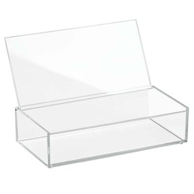 """Interdesign 39640 Clarity Cosmetic Box with Lid, 8"""" X 4"""" X 2""""- Clear"""