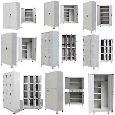 Metal Storage Office Cabinet 2/4 Door Cupboard Wardrobe Shelves Locker Steel US (2 Door Office Wardrobe)