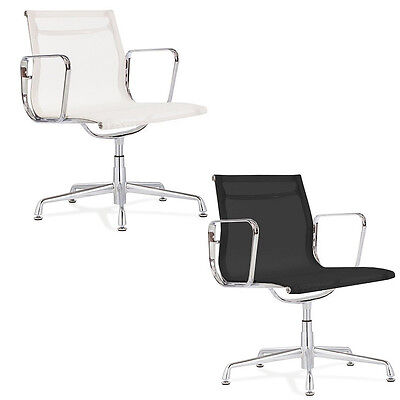 Mesh Side Chair Aluminum Frame Modern Group Office Guest Chair Black Or White