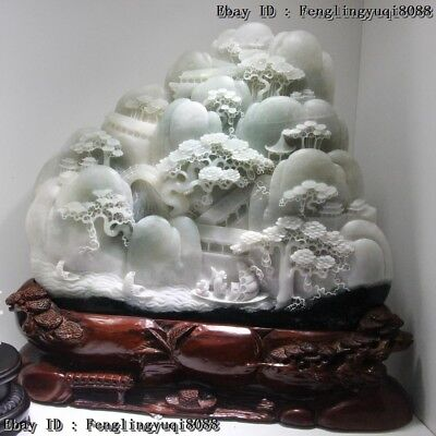 "21"" Chinese Dushan Jade "" Sail with The Wind "" Mountain Water Fengshui Statue"
