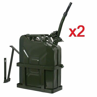 Lot of 2 Jerry Can with Holder 20L Liter 5 Gallons Steel Tank Fuel Gasoline Air Intake & Fuel Delivery