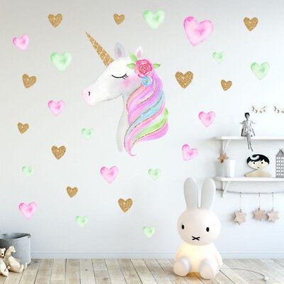 Fairy Unicorn Star Heart Wall Stickers Removable Girls Kids Nursery Room Decor (Kids Room Decor)
