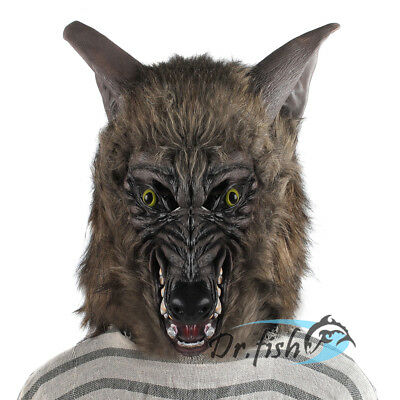 Realistic Halloween Werewolf Mask Horror Scary Men Costume Wolf Dress Prop