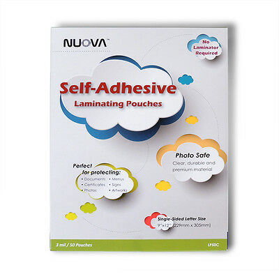 Nuova Premium Self-adhesive Laminating Pouches 9in X 12in Single Side 50-pack
