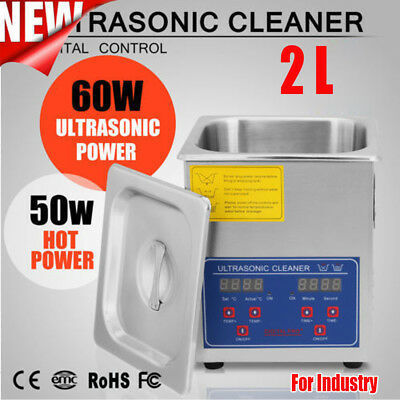 Stainless Steel 2l Liter Industry Heated Ultrasonic Cleaner Heater Timer Us