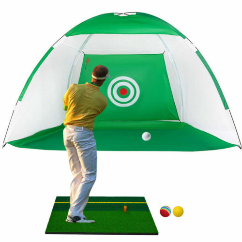 10FT Golf Practice Cage Net Driving Net Training Aid Mat Driver Irons Free Bag