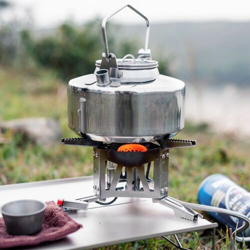 Outdoor Camping Kettle Stainless Steel Durable 1L Teapot Bushcraft Camping Gear