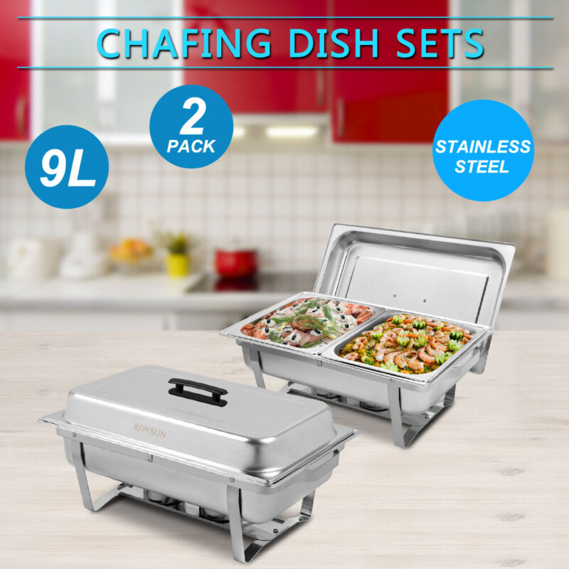 2 Pack Catering Stainless Steel Chafer Chafing Dish Sets 9L 8QT 1/2 Size Buffet