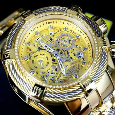 Invicta Reserve Bolt Zeus Tri-Cable Diamond Gold Plated Swiss Mvt 52mm Watch New