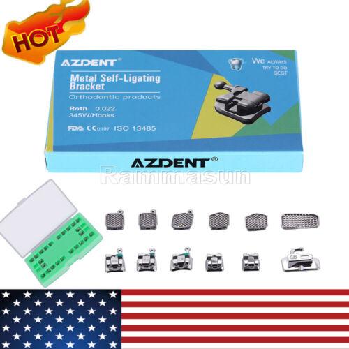Azdent Dental Orthodontic Brackets Self Ligating Braces Mini Mbt.022 Hooks 3-4-5