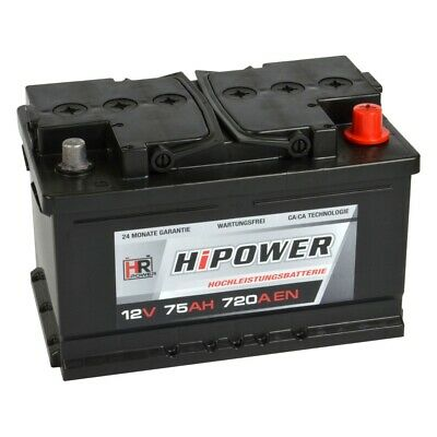 HR HiPower Autobatterie 12V 75Ah 720A ersetzt 63 65 66 70 72 74 75 77 78 80 Ah