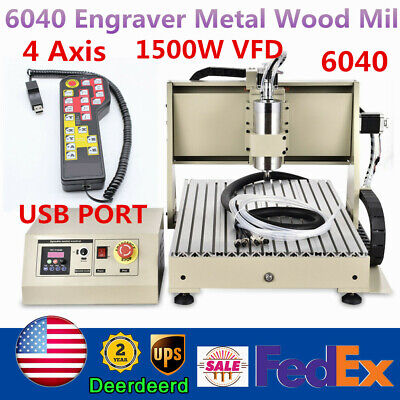 Usb 4 Axis Cnc 6040t Router Engraver 1500w Vfd Metal Wood Milling 3dcontroller