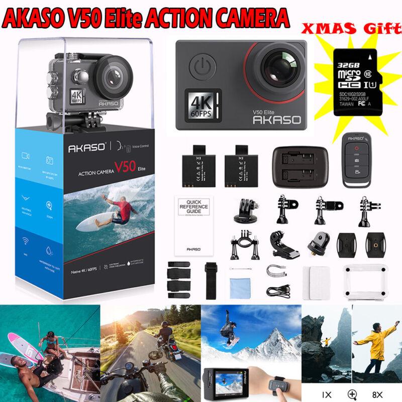 AKASO V50 ELITE 4K HD Action Camera 20MP Wifi Touch Screen Voice Control+32GB SD