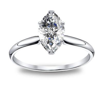 Lovely Natural Marquise Cut Solitaire Diamond Engagement Ring GIA Certified
