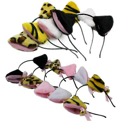 Women Fancy Hair Hoop Halloween Sweet Girls Cat Fox Cosplay Bell Ears Headband