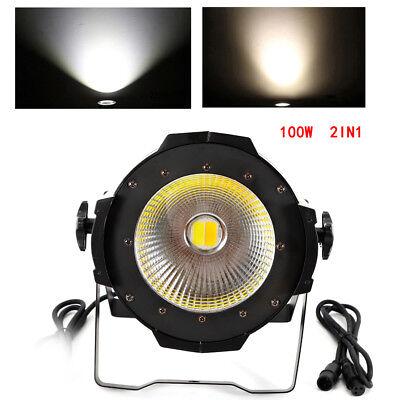 100W COB LED Stage Par Light Cool & Warm White Light PAR64 DMX-512 Party DJ