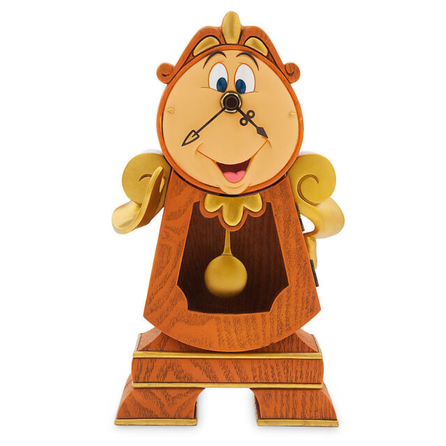 """DISNEY PARKS BEAUTY AND THE BEAST COGSWORTH CLOCK WORKING 10"""" Figure NEW IN BOX"""