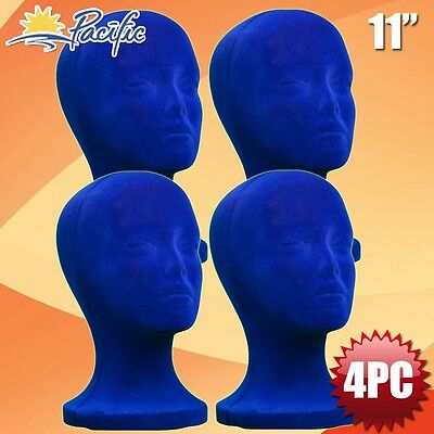 4pc11 Styrofoam Foam Blue Velvet Mannequin Manikin Head Display Wig Hat Glasses