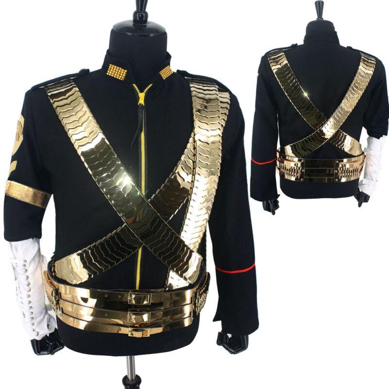 Classic MJ Michael Jackson Jam Dangerous Jacket Costume Metal Belt Set