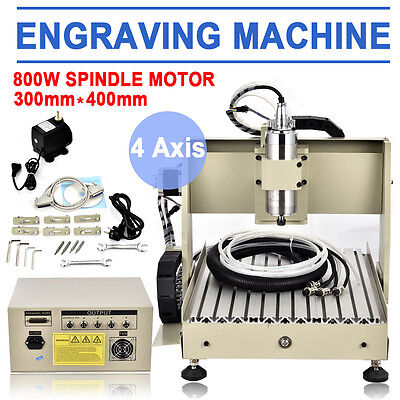 800w Vfd 4 Axis 3040 Engraver Cnc Router Milling Engraving Carving Machine Usa