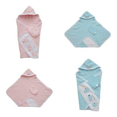 GALLUX Badetuch mit Kapuze Kapuzenbadetuch 100% Baumwolle Babybadetuch Handtuch