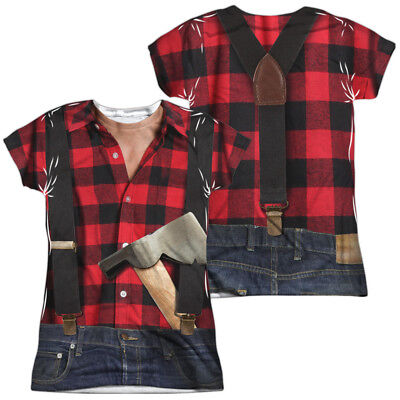 LUMBERJACK COSTUME Women's Junior Graphic Tee Shirt SM-2XL Halloween ](Lumberjack Woman Costume)