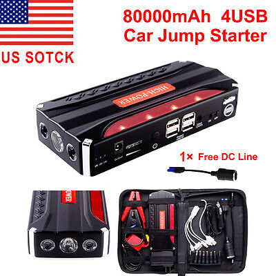 4 Usb 80000Mah Portable Car Jump Starter Pack Booster Battery Charger Power Bank