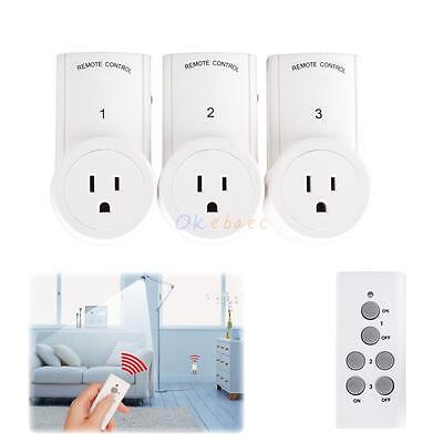 3 Pack Wireless Remote Control Power Outlet US Plug Light Switch Socket w/Remote