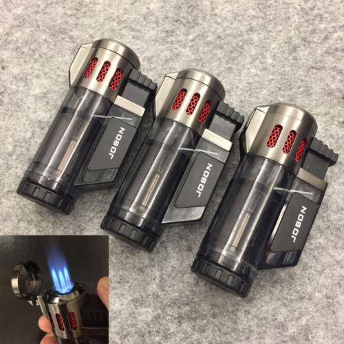 3 PCS JOBON High Capacity Triple Jet Torch Gas Lighter for Cigar Cigarette Black