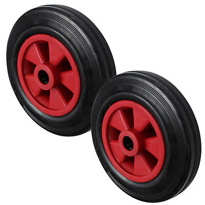 200MM Black Rubber Tyre with Red Plastic Centre Sack Truck Wheel 200mm