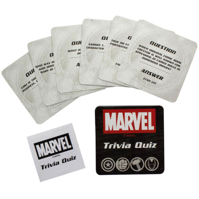 MARVEL AVENGERS TRIVIA 50 CARDS GAME PUZZLE QUIZ NOVELTY HULK THOR IRON MAN