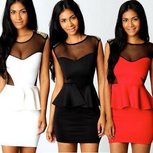 Ladies-Black-Studded-Mesh-Peplum-Dress-Party-Evening-Wear-Mini-Dress