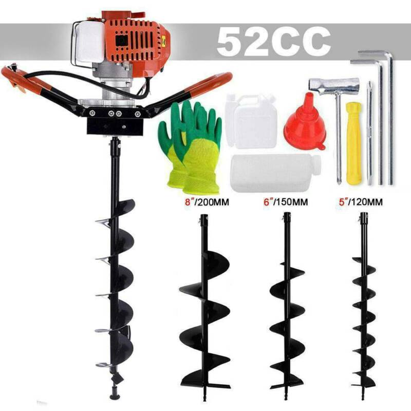 52cc Gas Powered Earth Auger Power Engine Post Hole Digger and Drill Bit Ground