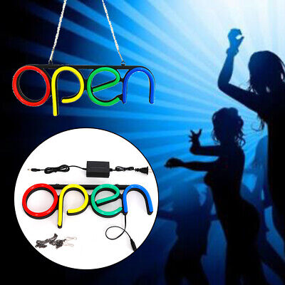 2 Open Business Store Sign Lamp Led Neon Light Bar Cafe Shop Outside Wall Decor